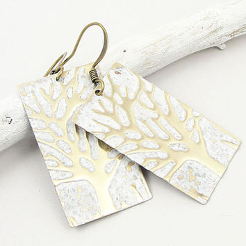 Winter Jewelry Rustic Hand Painted Winter Tree Earrings Snowy White Woodland Jewelry Holiday Festive Unique Gifts for Women Free Shipping