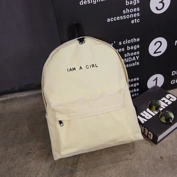 ONETOW Day-First? I AM A GIRL Large Canvas College School Bag Backpack