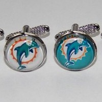 Miami Dolphins NFL football logo cufflinks football sports team cufflink jewelry
