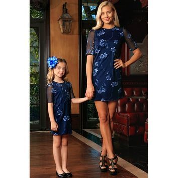 Navy Blue Floral Lace Elbow Sleeve Party Shift Mother Daughter Dress