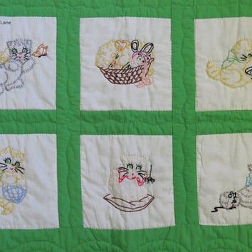 Vintage Baby Quilt, Baby Blanket, Embroidered Cats, Kitten Embroidery, Handmade Throw Blanket