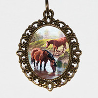 River Horse Necklace, Country, Wild Horses, Horse Jewelry, Brown Horse, Oval Pendant