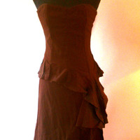 "SALE Top designer ""Naughty"" STEAMPUNK dress. boned corset, layered, ruffled, asymmetric skirt, chocolate brown 100% cotton UK 8 10 (small)"