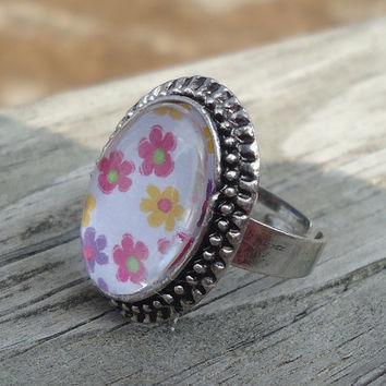 Spring Flowers Antique Silver Adjustable Ring