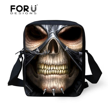 Vintage Brand Skull Head Pattern Small Canvas Messenger Bags for Men Boys Crossbody Sling Bags,Fashion Outdoor Travel Bags