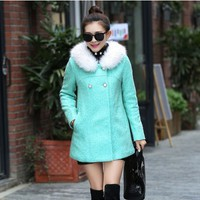 Women : White Fur Collar Cashmere Winter Coat YRB0446