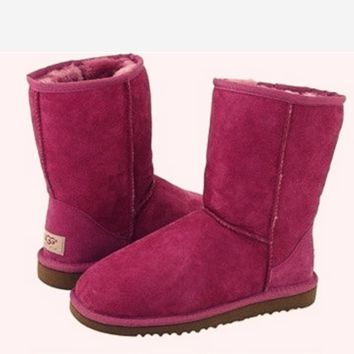UGG Short boots antiskid warm lazy sheep fur simple ugg boots canister boots Fresh Wine red
