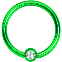 "16 Gauge 3/8"" Clear Crystal Light Green Titanium BCR Captive Ring 