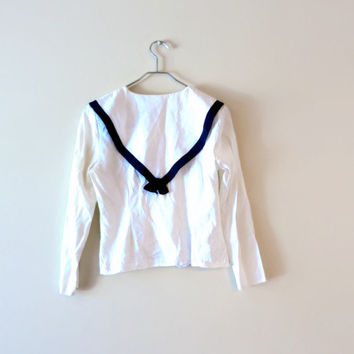 Vintage 80s Sailor Shirt - French Sailor Button Up - Pearl Buttons - Nautical Blouse - Sailor Collar Shirt - White Blouse - Sailor Moon