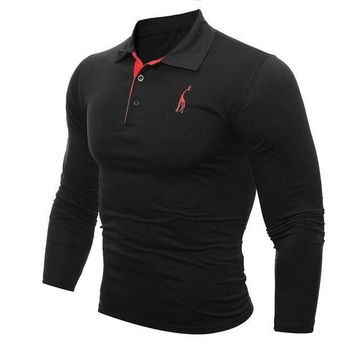 VONE05WA Mens Polo Shirt Brands 2017 Male Long Sleeve Fashion Casual Slim Solid Deer Embroidery Polos Men Jerseys  3XL