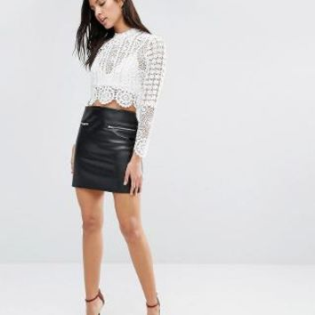 Glamorous | Glamorous Skirt In Faux Leather With Zip Detail at ASOS