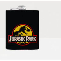 Jurassic park hip flask - Gift for him - Hip flask - Gifts for men - Hip fasks - Flask - Black-Whiskey-Alcohol-Want-Dinosaurs-21st birthday