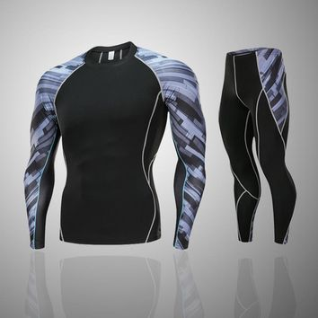 New Men warm sports suit Long Sleeve Suits rashguard complete graphic compression shorts Multi-use fitness MMA tops Shirts Mens
