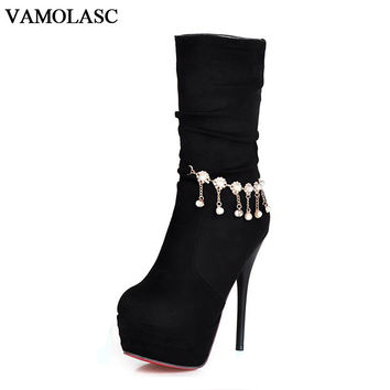 VAMOLASC New Women Autumn Winter Warm Faux Suede Mid Calf Boots Sexy Thin High Heel Boots Platform Women Shoes Plus Size 34-43