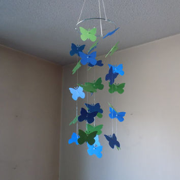 FREE US SHIPPING! Green and Navy butterfly paper mobile.  Baby Nursery mobile, Crib mobile. Boy/Girl/Teen/Tween mobile. Dorm,all occasion