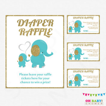 Teal Blue and Gold Elephant Baby Shower Diaper Raffle Tickets & Diaper Raffle Sign, Boy Baby Shower, Printable Diaper Raffle Cards EL0004-tg