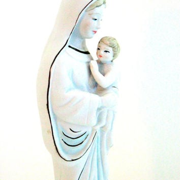 11'' Mary and Child Ceramic Vintage Statue