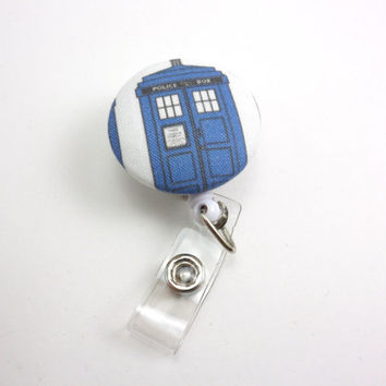 Dr Who Retractable Badge Reel, Fabric ID Holder with Swivel Clip - Tardis