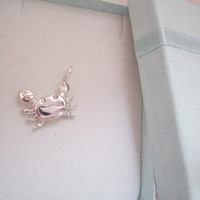 Sterling Silver Crab Charms with cubic zirconia. Crab charm necklace. Silver Crab charm. 925 Crab pendant.