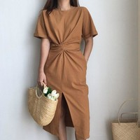 2017 women's summer white cotton short sleeve bandage bodycon sexy dress plus size solid mid calf long casual dresses