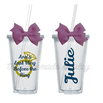 Last Fling Before the Ring Bachelorette Party acrylic cups! Personlized for each girl! bachelorette cups