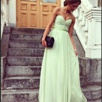 Pretty Sage Sweetheart Floor Length Prom Dress/Graduation Dress