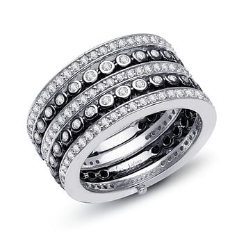 Lafonn Pave Glam Sterling Silver 2-Tone Platinum & Black Rhodium Plated Simulated Diamond Ring (1.82 CTTW)