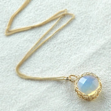 Pendant necklace, opalite, gold wire crochet pendant, lavnder and  yellow