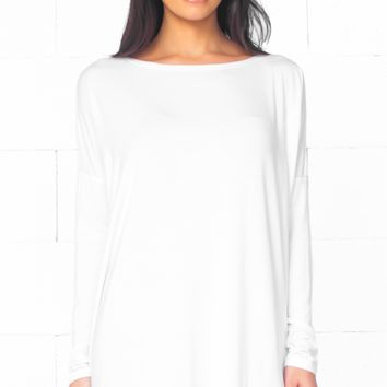 Piko 1988 White Long Sleeve Scoop Neck Piko Bamboo Oversized Basic Tunic Tee Shirt Mini Dress