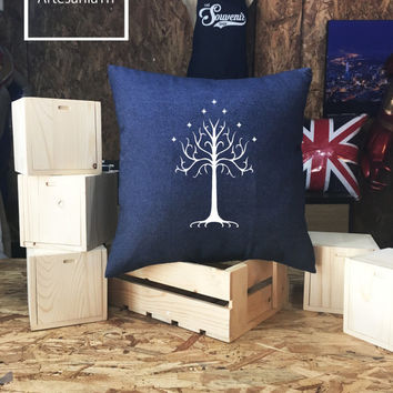 White tree of gondor Pillow cover Jean cotton canvas, Cushion cover, pillow cover, small pillow case, 16x16 , canvas pillow cover
