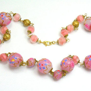 Antique Murano Venetian Lampwork Wedding Cake Art Glass Bead Necklace Signed Venetian Glass Jewelry Jewellery Bridal