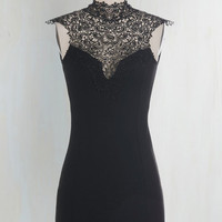 LBD Short Length Cap Sleeves Bodycon Like You a Lattice Dress in Black by ModCloth