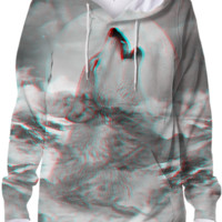 Maybe the Wolf Is In Love with the Moon v.2 (3D Effect) Unisex Hoodie Sweatshirt created by soaringanchordesigns | Print All Over Me
