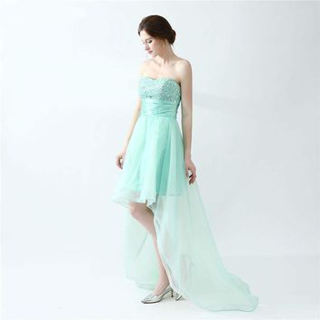 Mint Green Prom Dresses Beaded Sweetheart Organza Asymmetrical Short Front Long Back Prom Dress Girls Party Gown