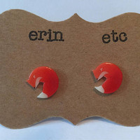Handmade Plastic Fandom Earrings - Orange Fox