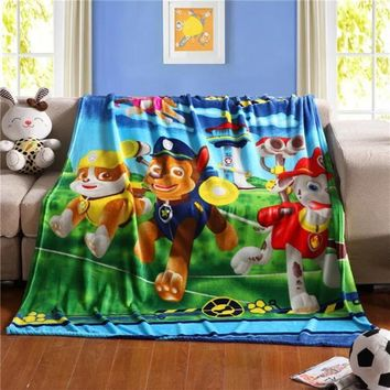 High Quailty Cute Blue Paw Patrol Minnie 100 140cm knitted blanket Girls plush Blankets Fashion Brand Bed Cartoon Child Sheet