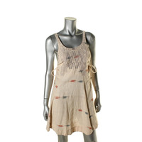 Free People Womens Pattern Embroidered Casual Dress