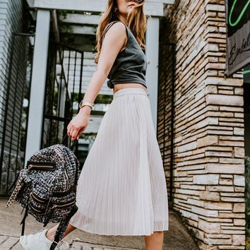 GREY LAB | Metallic Pleated Skirt - Blush