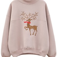 Pink High Neck Embroidery Deer  Long Sleeve Sweatshirt