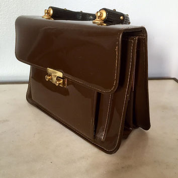 Mid-Century Chocolate Brown Box Shaped Handbag with Faux Wood Handle, 1960s