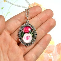 Pink Roses cameo necklace - Bows Jewellery