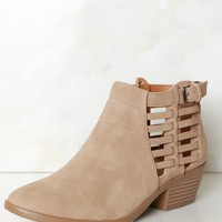 Strapped Ankle Booties Taupe