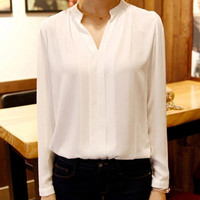 Plus Size Solid Color V-Neck Long Sleeve Chiffon Blouse