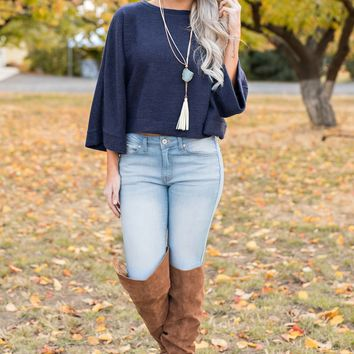 Odessa Cropped Sweater (Navy)