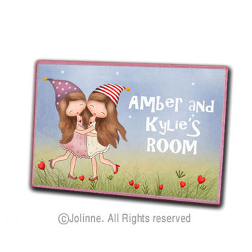 Personalized door sign, sisters twins bedroom sign. custom name, children decor, kids room sign