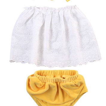 Newest Infant Girl Clothing 3pcs Sets Lace Flower Strapless Tops+Briefs+ Headband Baby Newborn Clothes