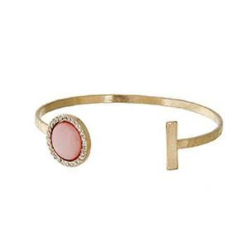 Gold Cuff Bracelet with Pink Disk