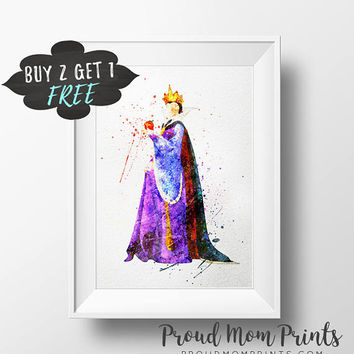 Disney Villain Evil Queen Wall Art Print, Snow White Wicked Queen Art Print Poster, Disney Evil Queen Printable Watercolor Instant Download