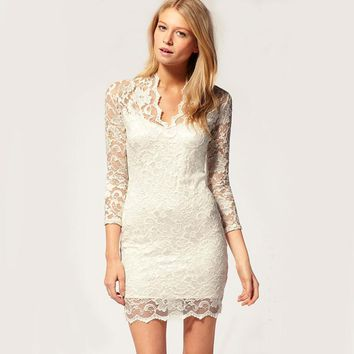 10 colors Ladies Mini White Lace Dresses Big Size Clothing Women Sexy Hollow Out Bodycon Party Bottom black dresses for Women