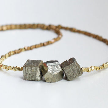 Pyrite necklace chunky pyrite stones and brass faceted beads